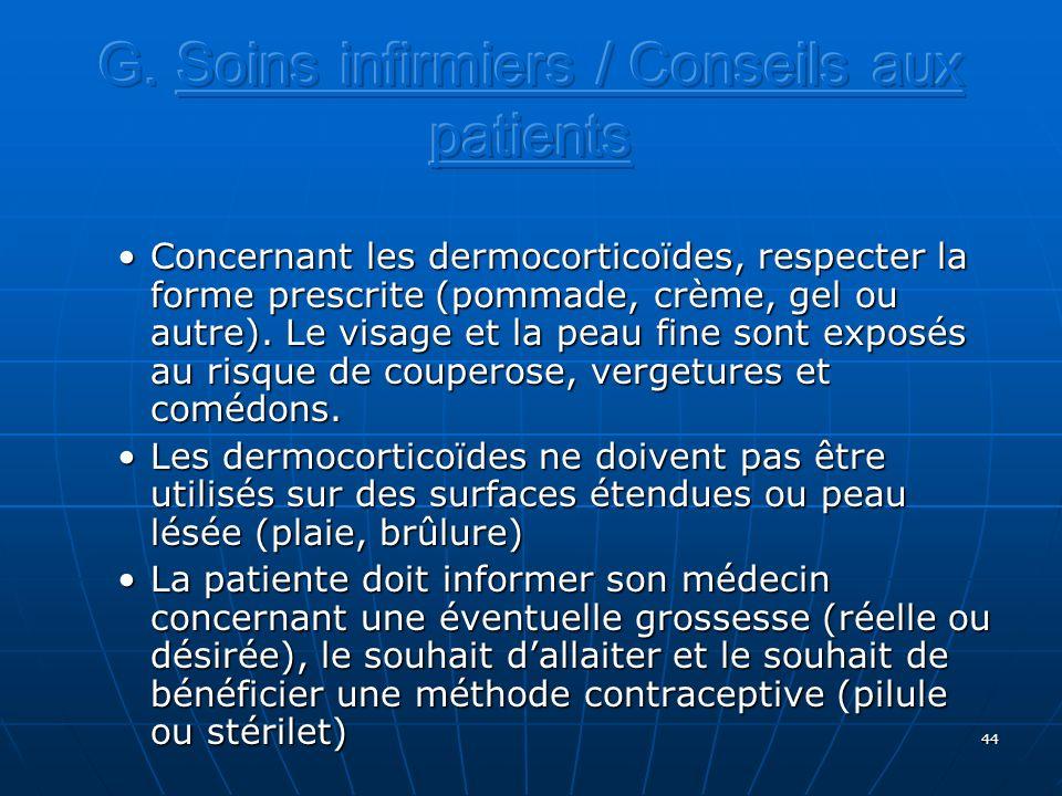 G. Soins infirmiers / Conseils aux patients