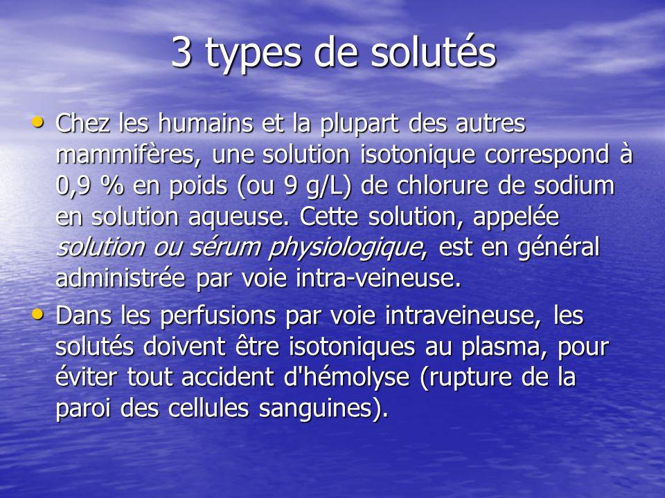 3 types de solutés