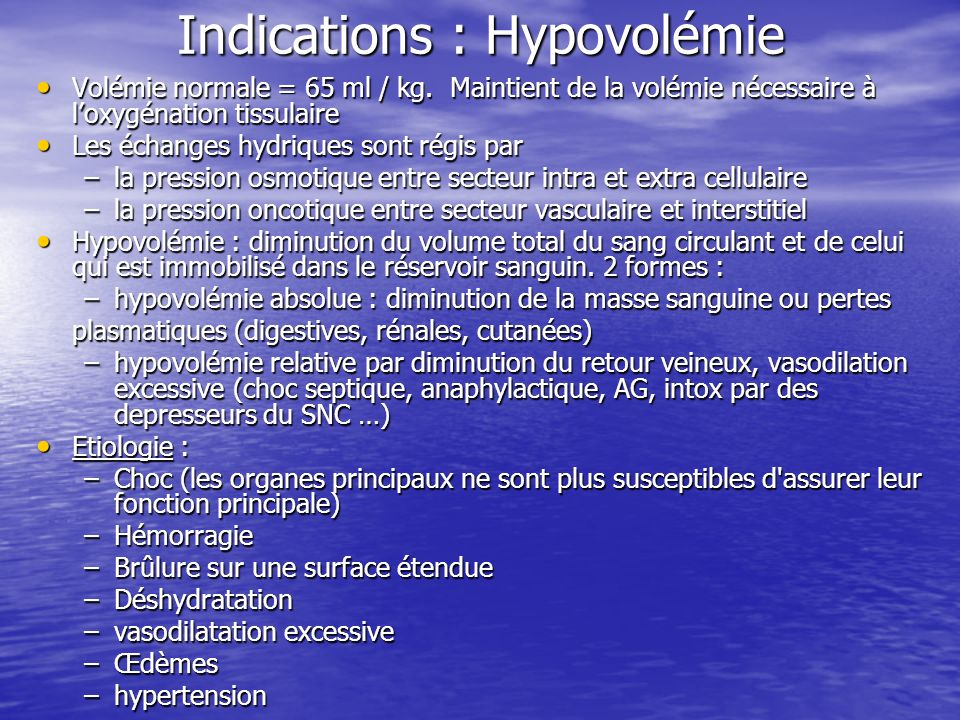 Indications : Hypovolémie