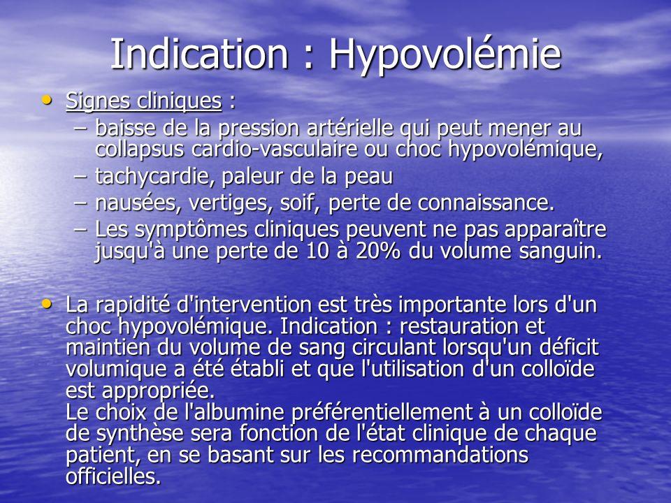Indication : Hypovolémie