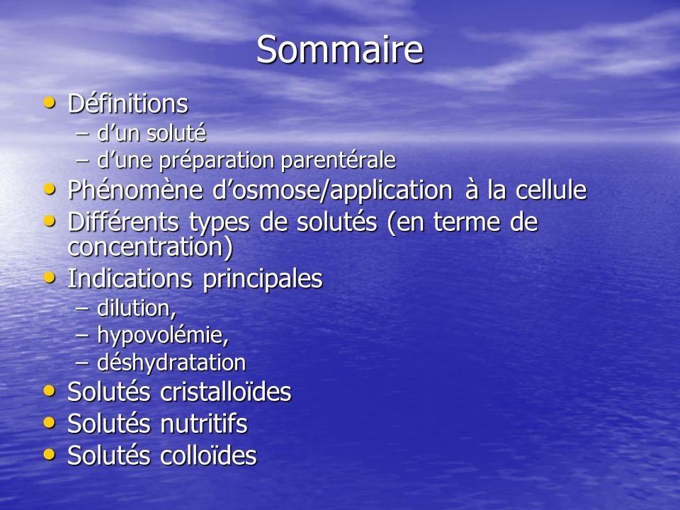 Sommaire Définitions Phénomène d'osmose/application à la cellule