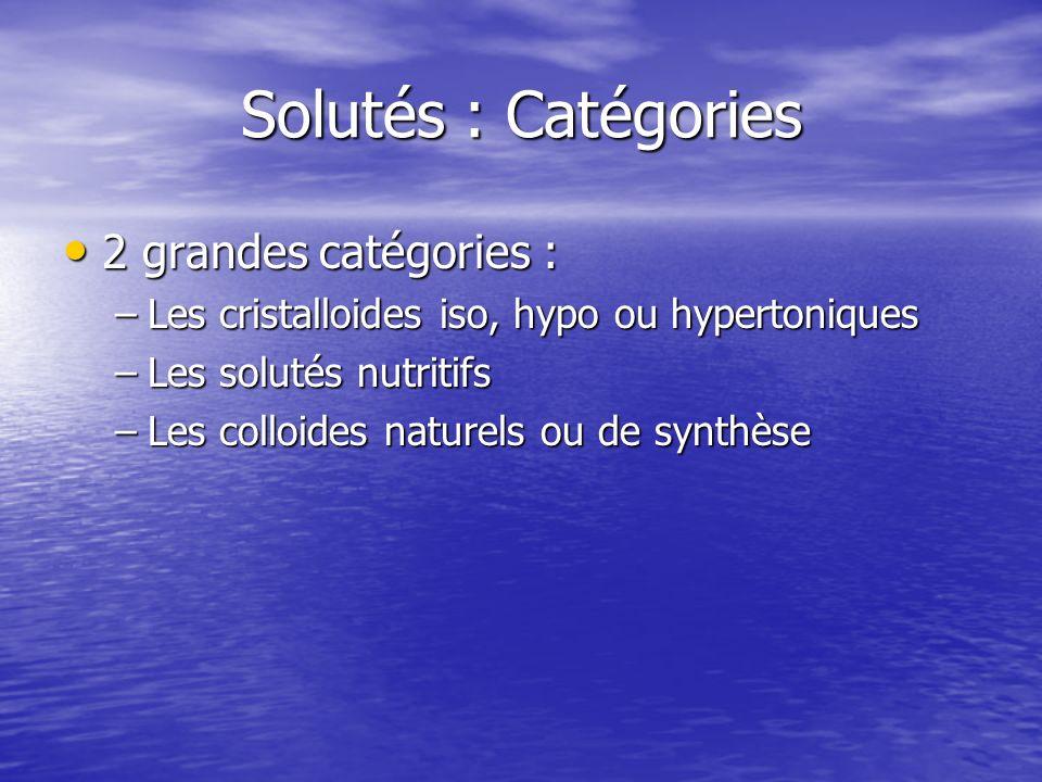Solutés : Catégories 2 grandes catégories :