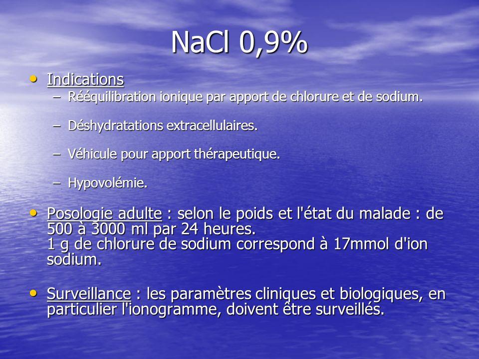 NaCl 0,9% Indications. Rééquilibration ionique par apport de chlorure et de sodium. Déshydratations extracellulaires.