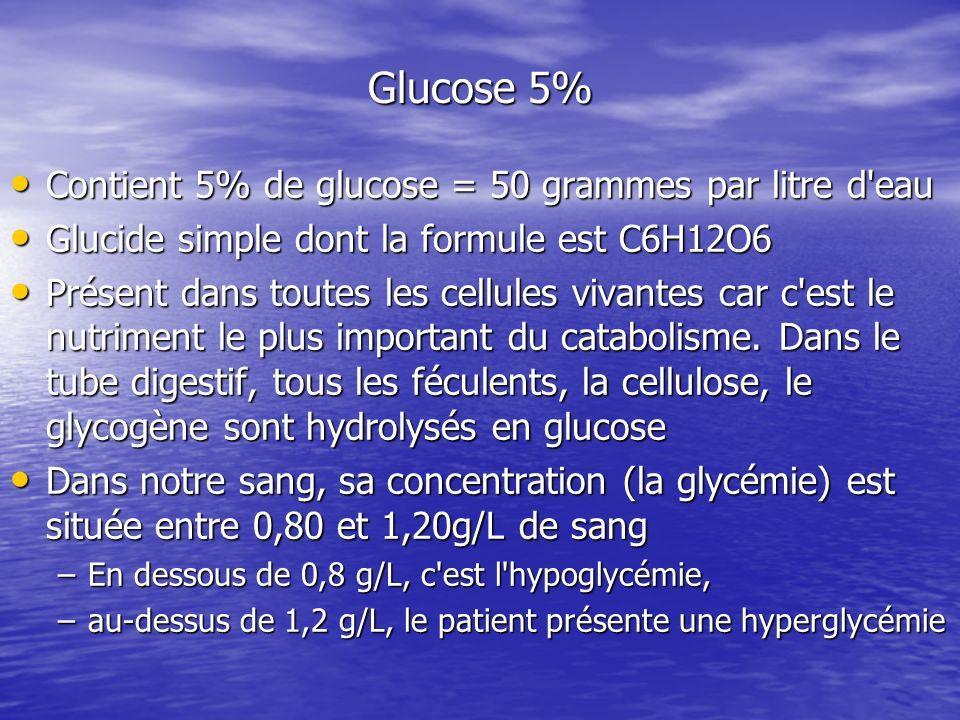 Glucose 5% Contient 5% de glucose = 50 grammes par litre d eau