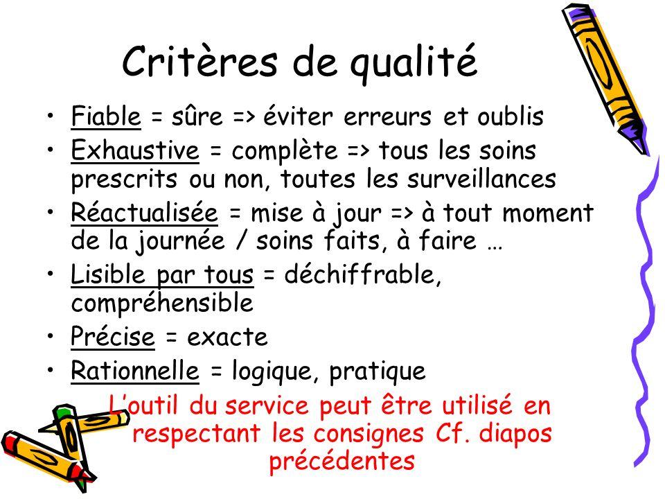 Critères de qualité Fiable = sûre => éviter erreurs et oublis