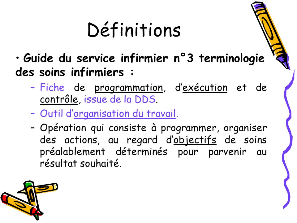 Définitions Guide du service infirmier n°3 terminologie des soins infirmiers : Fiche de programmation, d'exécution et de contrôle, issue de la DDS.