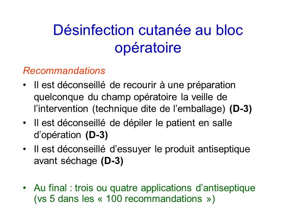 Désinfection cutanée au bloc opératoire