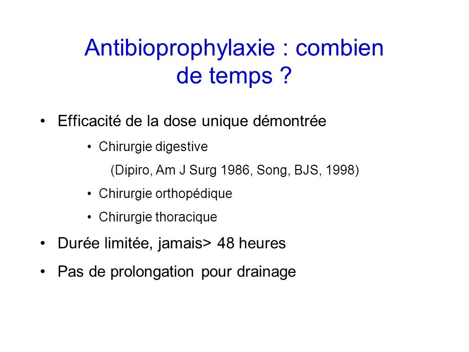 Antibioprophylaxie : combien de temps