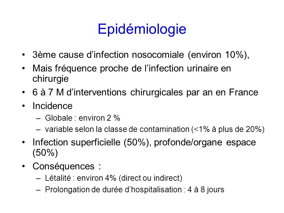Epidémiologie 3ème cause d'infection nosocomiale (environ 10%),