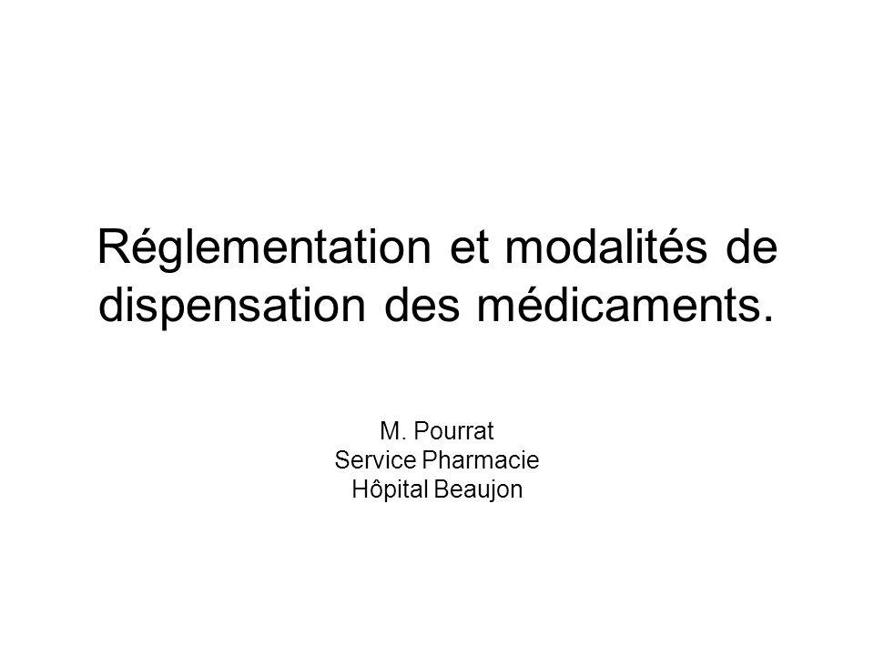 Réglementation et modalités de dispensation des médicaments.