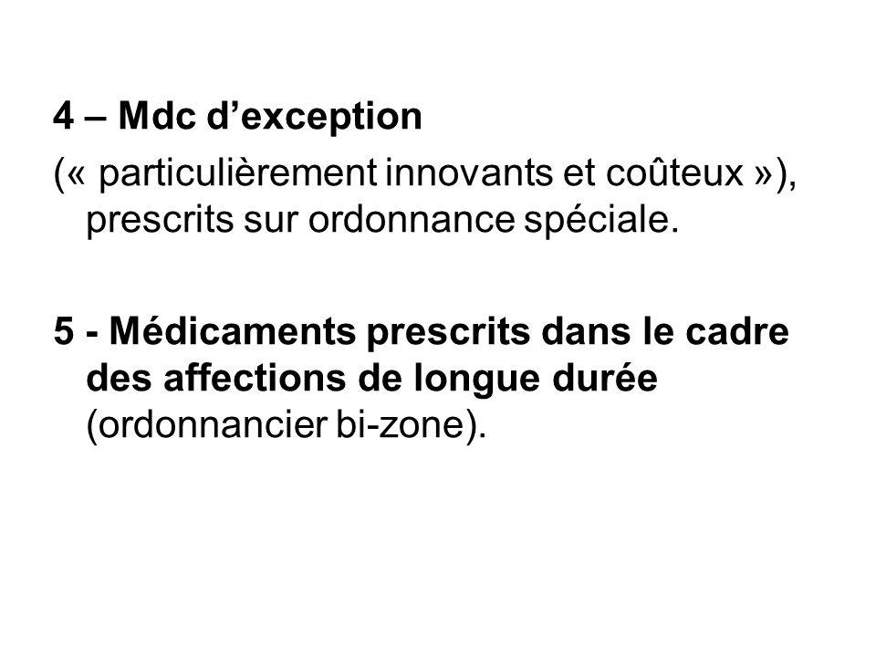 4 – Mdc d'exception (« particulièrement innovants et coûteux »), prescrits sur ordonnance spéciale.