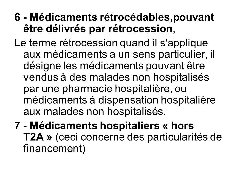 6 - Médicaments rétrocédables,pouvant être délivrés par rétrocession,