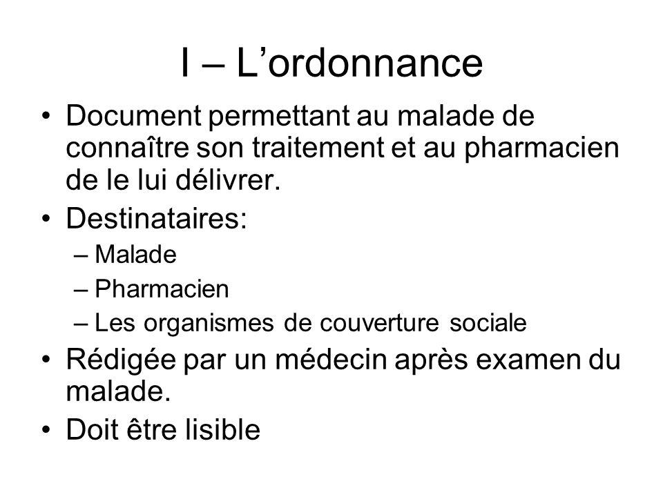 I – L'ordonnance Document permettant au malade de connaître son traitement et au pharmacien de le lui délivrer.
