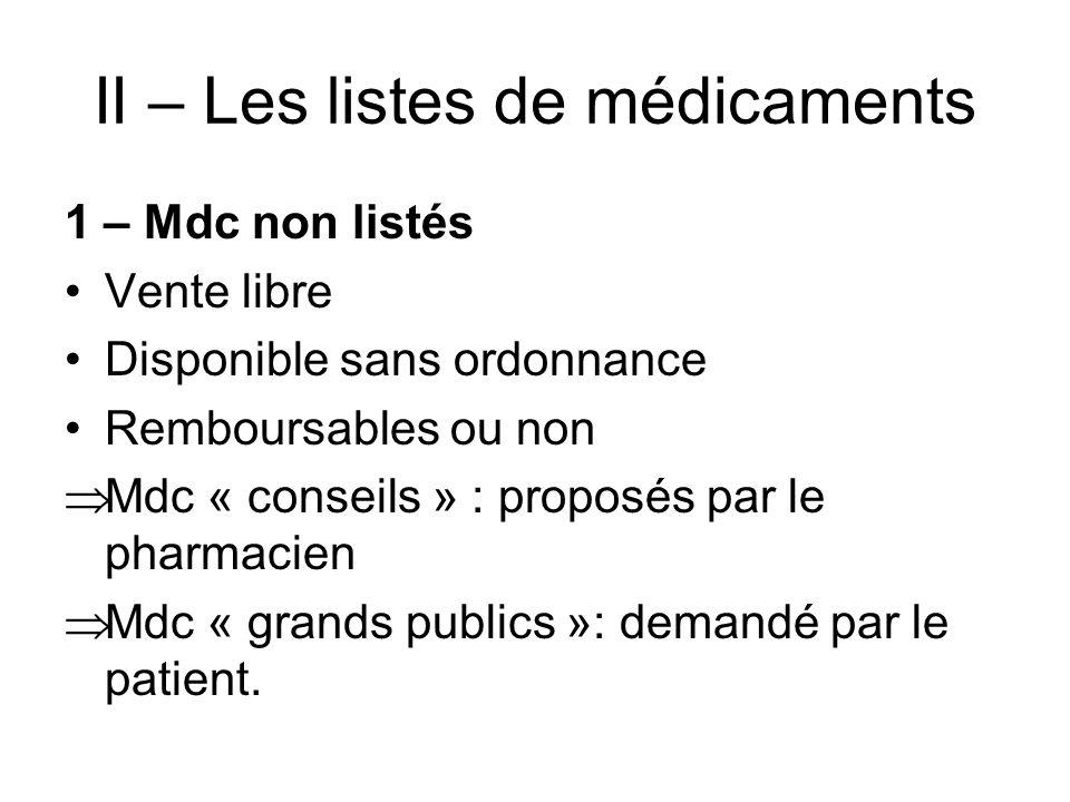 II – Les listes de médicaments
