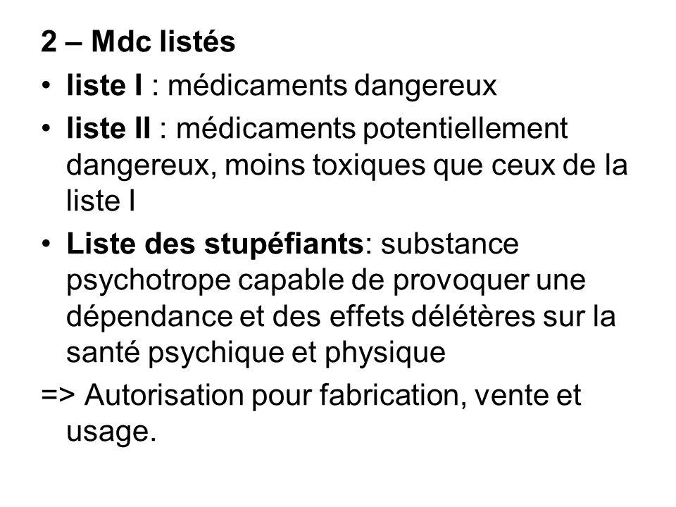 2 – Mdc listés liste I : médicaments dangereux. liste II : médicaments potentiellement dangereux, moins toxiques que ceux de la liste I