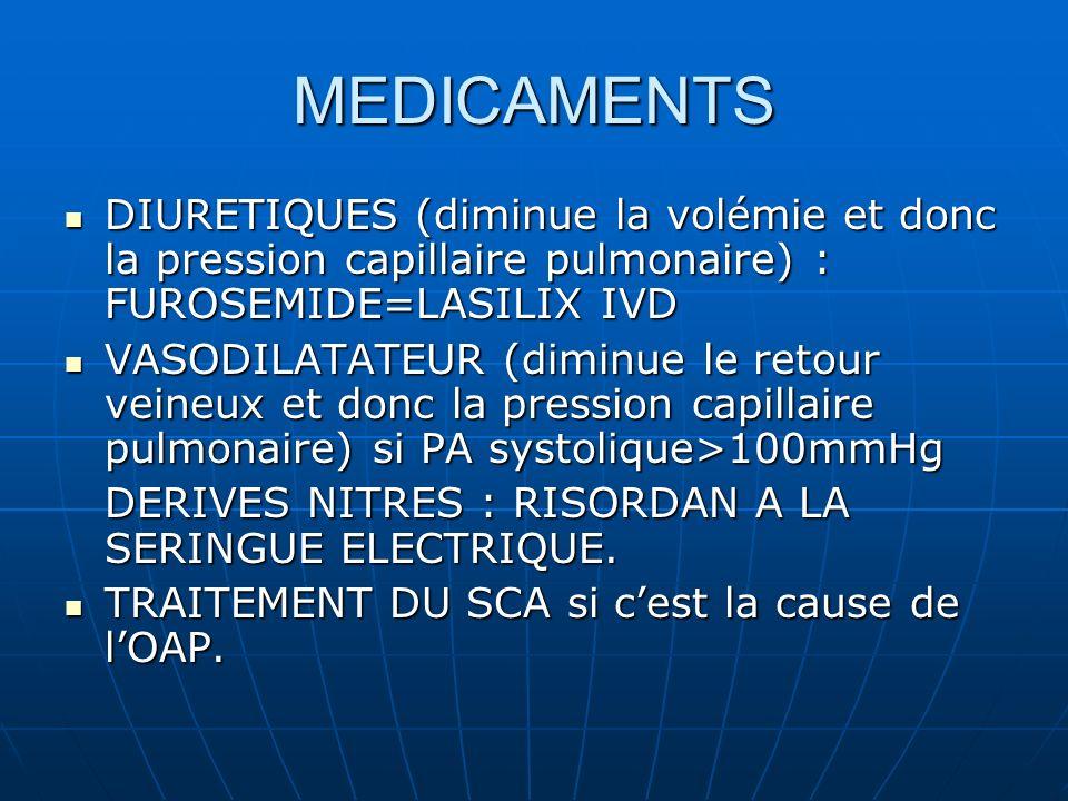 MEDICAMENTS DIURETIQUES (diminue la volémie et donc la pression capillaire pulmonaire) : FUROSEMIDE=LASILIX IVD.