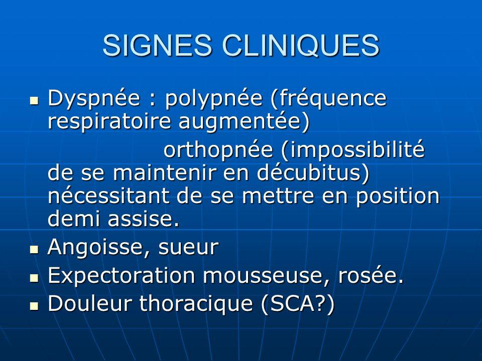 SIGNES CLINIQUES Dyspnée : polypnée (fréquence respiratoire augmentée)