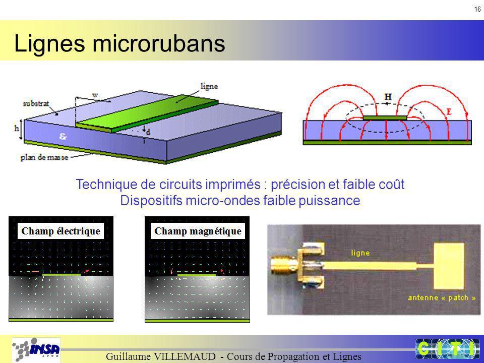 16 Lignes microrubans. Technique de circuits imprimés : précision et faible coût.