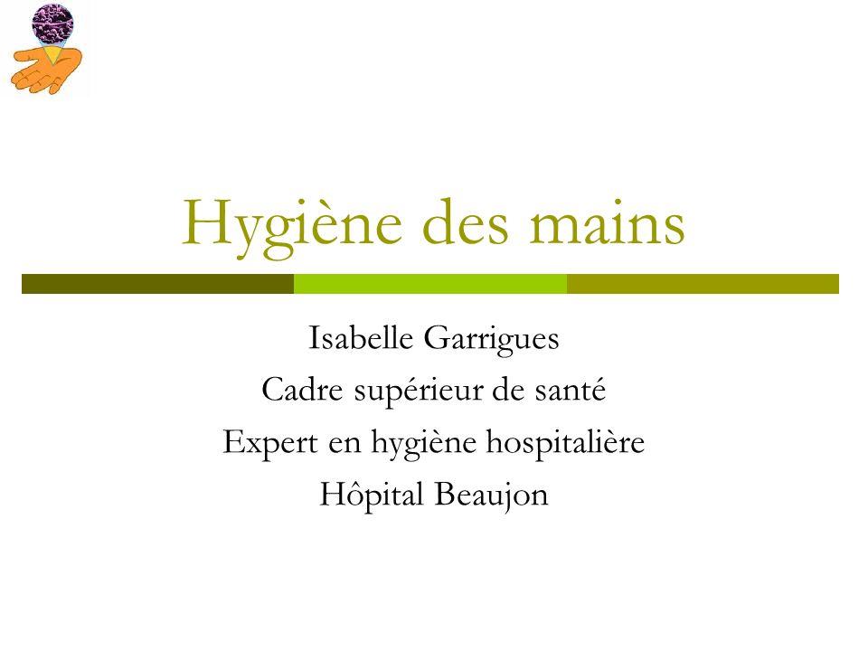 Hygiène des mains Isabelle Garrigues Cadre supérieur de santé