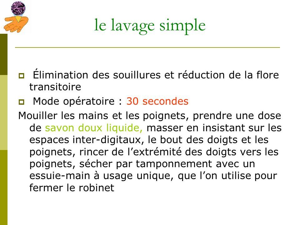 le lavage simple Élimination des souillures et réduction de la flore transitoire. Mode opératoire : 30 secondes.