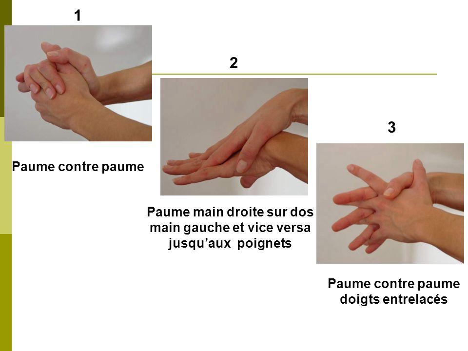 1 2. 3. Paume contre paume. Paume main droite sur dos main gauche et vice versa. jusqu'aux poignets.