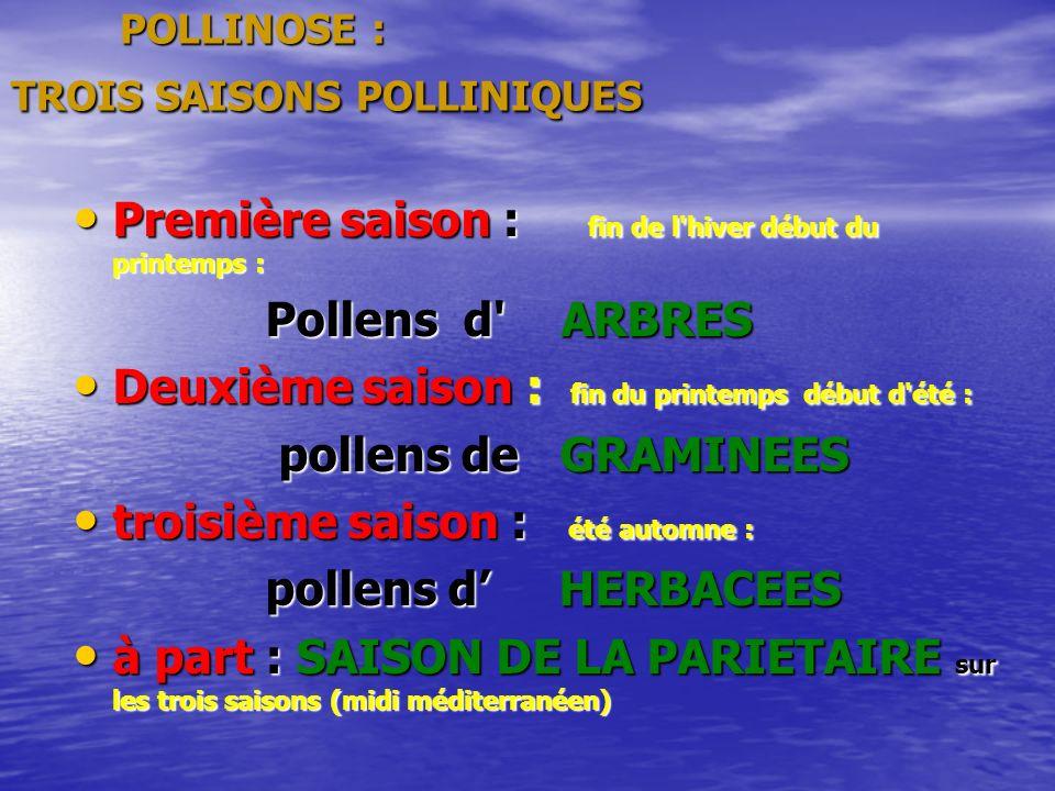 POLLINOSE : TROIS SAISONS POLLINIQUES