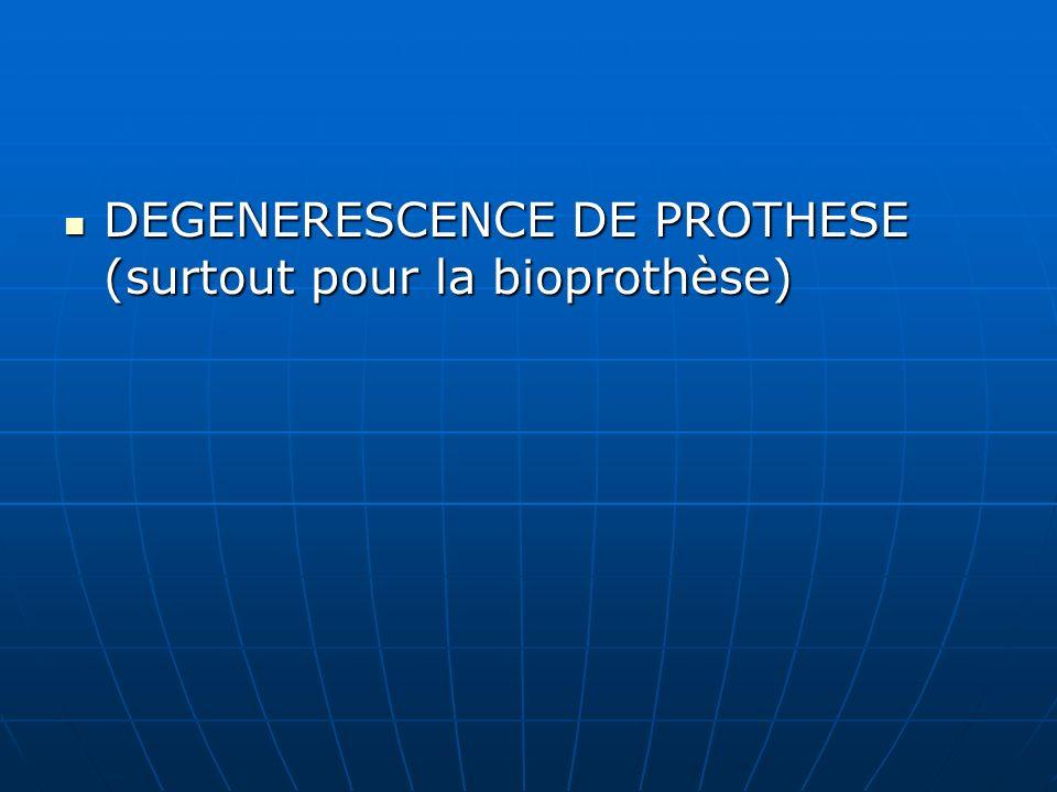 DEGENERESCENCE DE PROTHESE (surtout pour la bioprothèse)