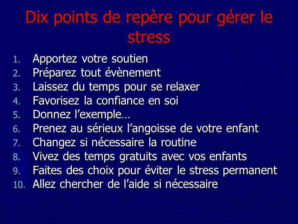 Dix points de repère pour gérer le stress