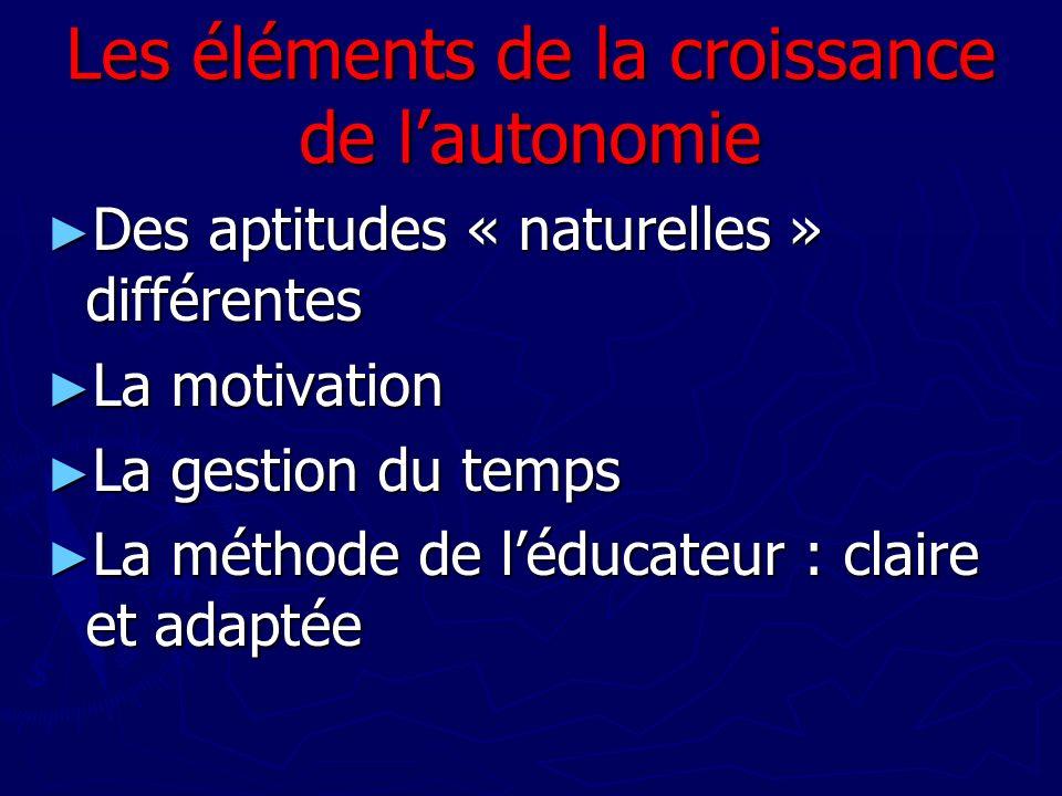 Les éléments de la croissance de l'autonomie