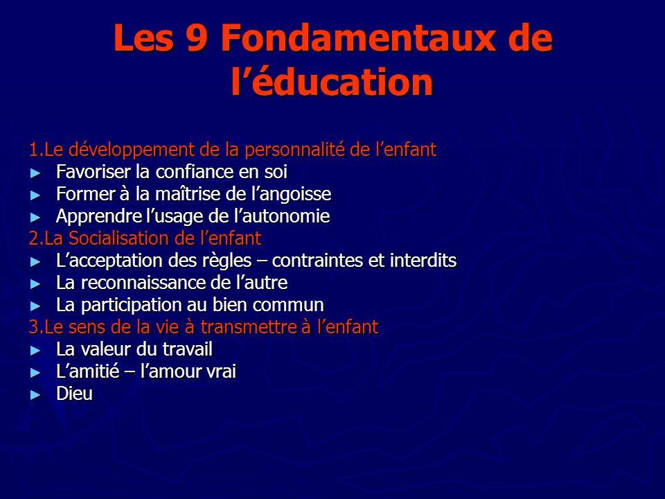 Les 9 Fondamentaux de l'éducation