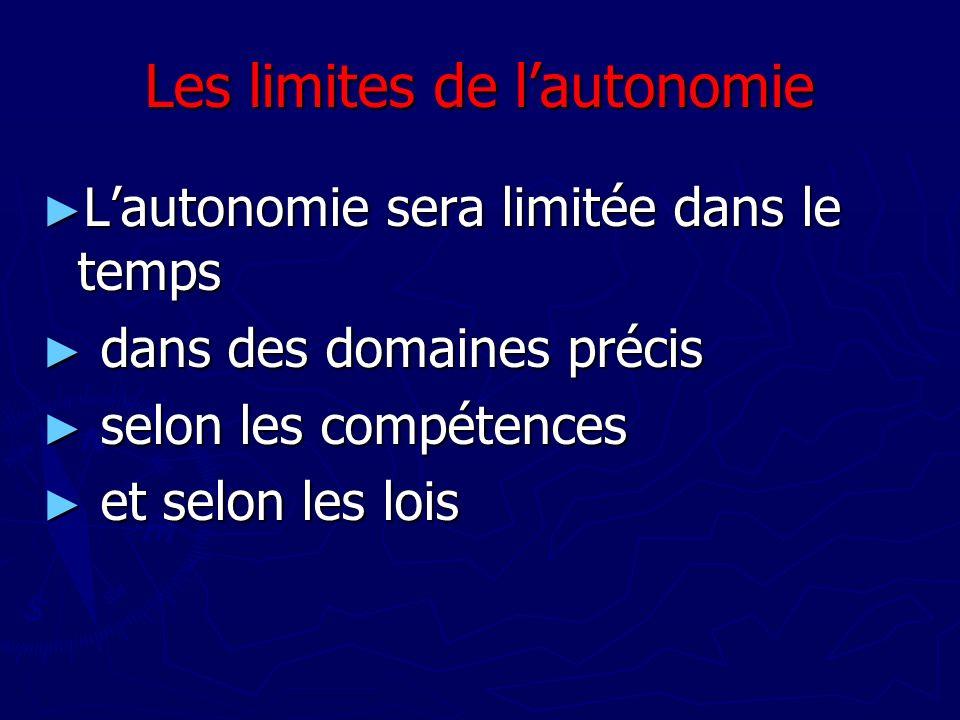 Les limites de l'autonomie
