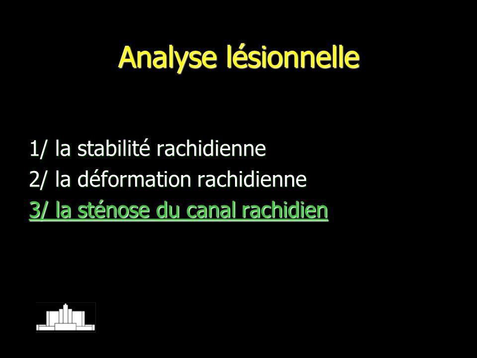 Analyse lésionnelle 1/ la stabilité rachidienne