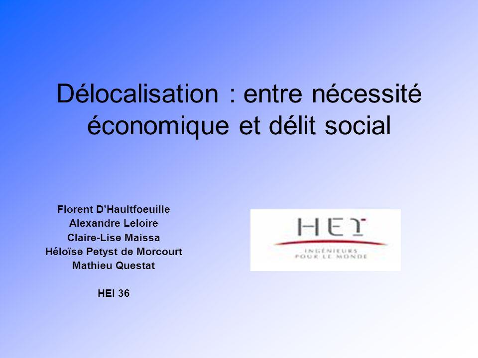 Délocalisation : entre nécessité économique et délit social