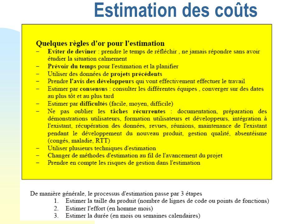 Estimation des coûts