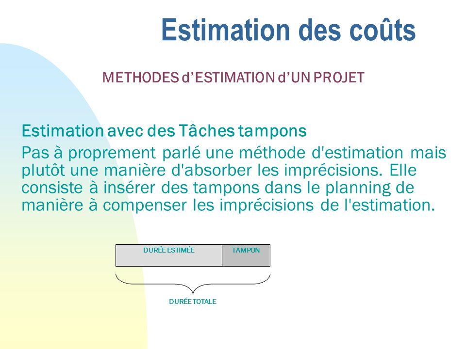 Estimation des coûts Estimation avec des Tâches tampons