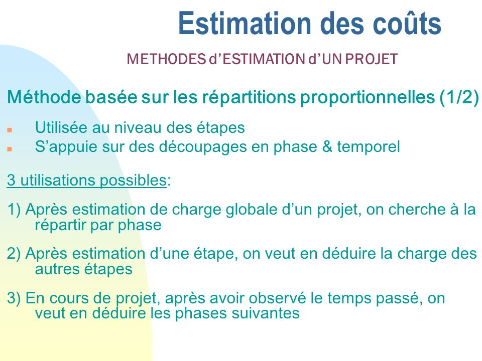 26/03/2017 Estimation des coûts. METHODES d'ESTIMATION d'UN PROJET. Méthode basée sur les répartitions proportionnelles (1/2)