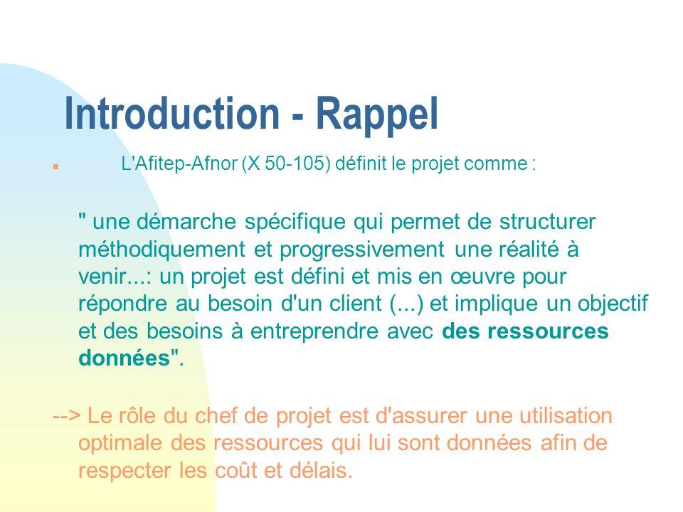 26/03/2017 Introduction - Rappel. L Afitep-Afnor (X 50-105) définit le projet comme :