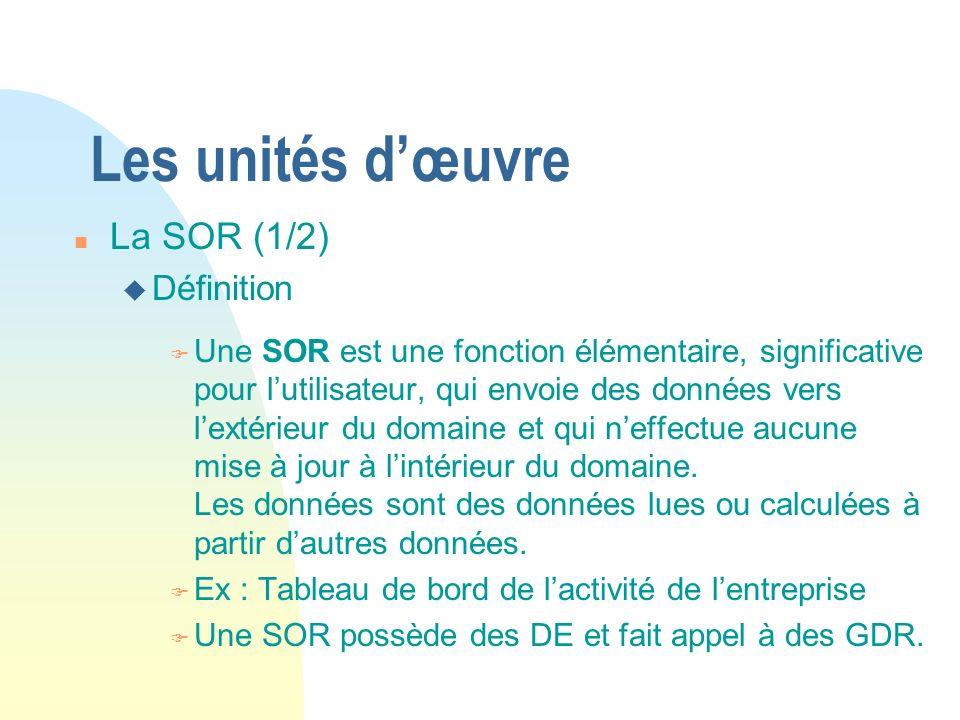 Les unités d'œuvre La SOR (1/2) Définition