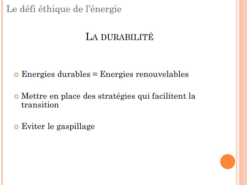 Le défi éthique de l'énergie