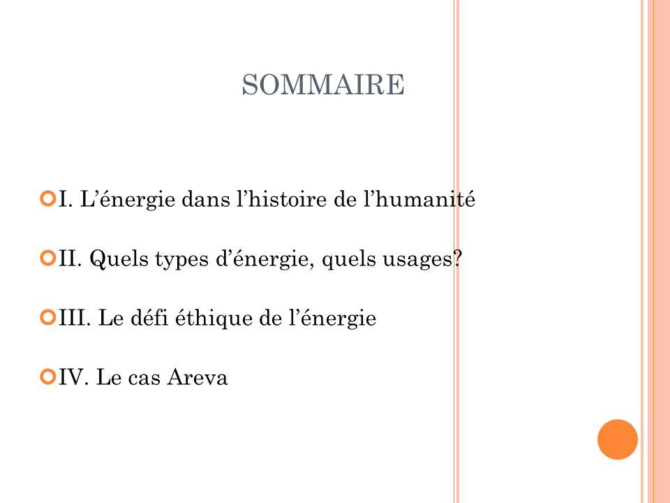 SOMMAIRE I. L'énergie dans l'histoire de l'humanité