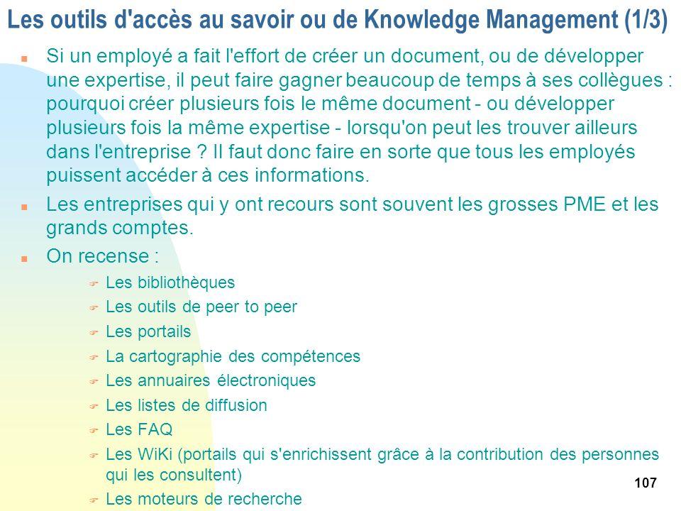 Les outils d accès au savoir ou de Knowledge Management (1/3)