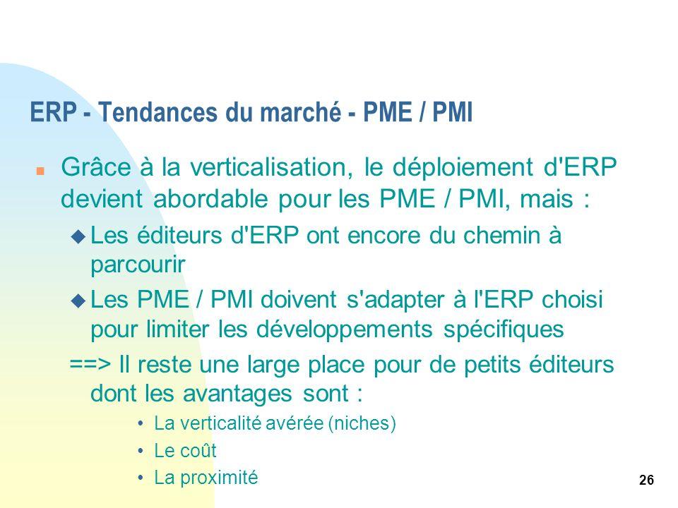 ERP - Tendances du marché - PME / PMI