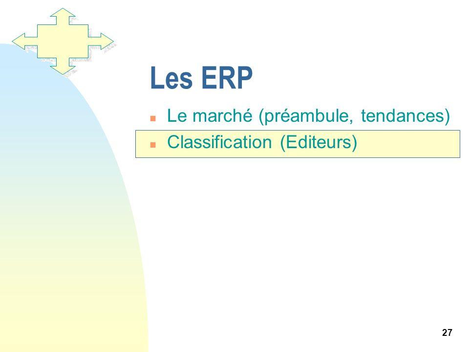 Les ERP Le marché (préambule, tendances) Classification (Editeurs)