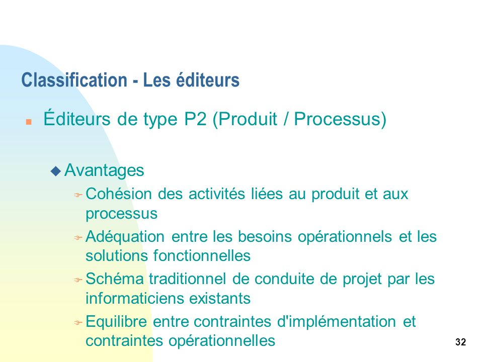 Classification - Les éditeurs