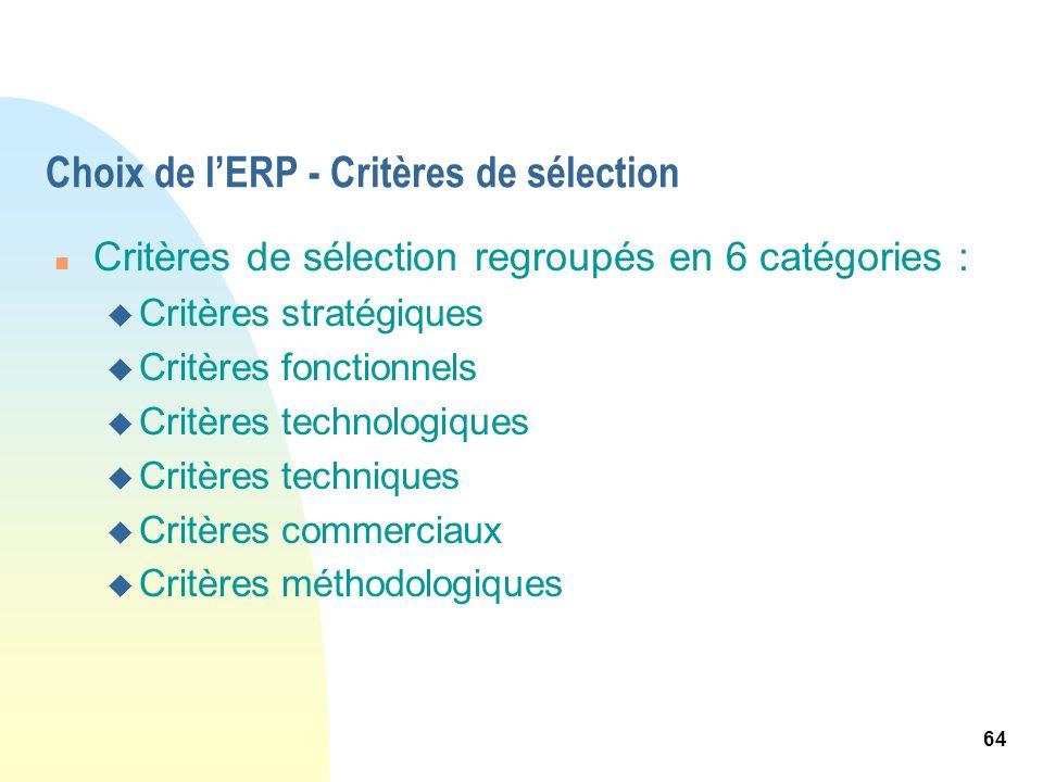 Choix de l'ERP - Critères de sélection