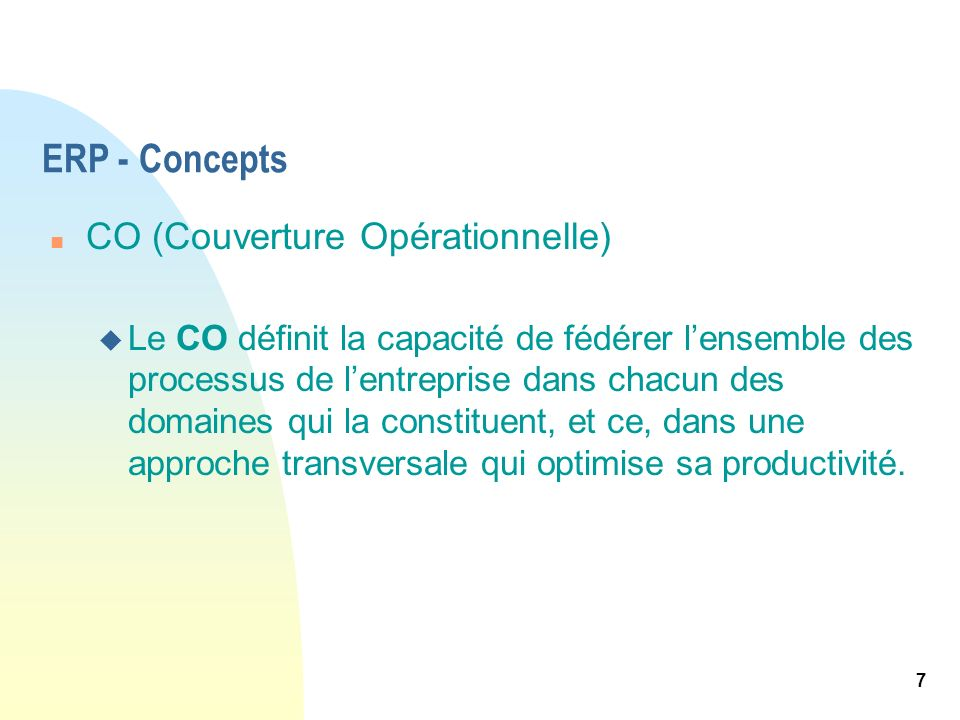 ERP - Concepts CO (Couverture Opérationnelle)