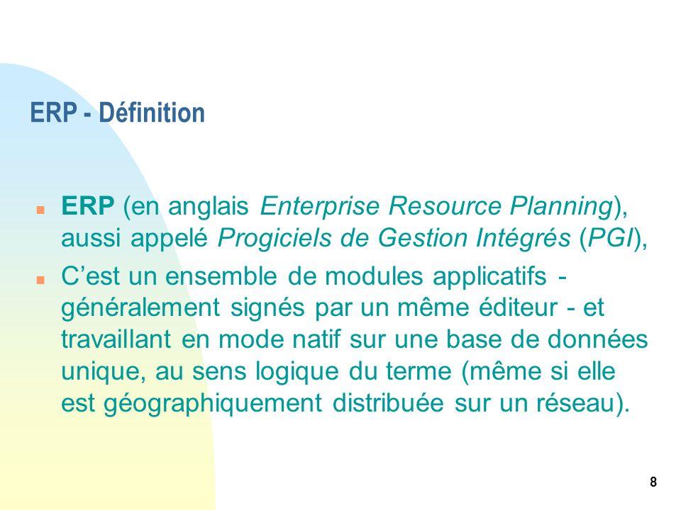 ERP - Définition ERP (en anglais Enterprise Resource Planning), aussi appelé Progiciels de Gestion Intégrés (PGI),