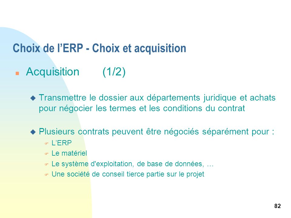 Choix de l'ERP - Choix et acquisition