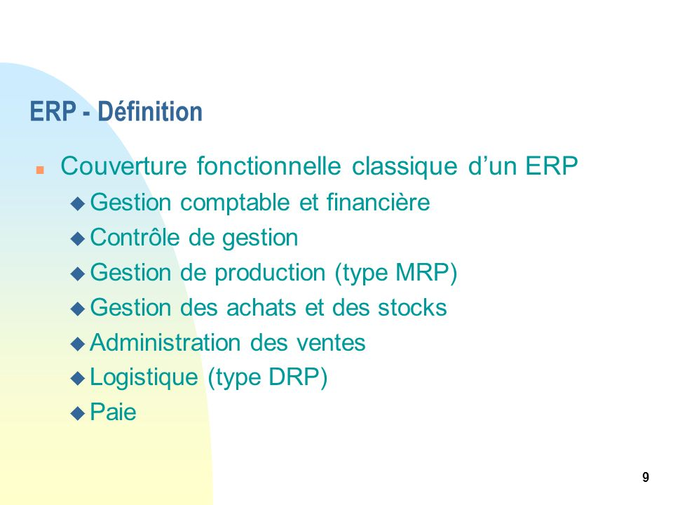 ERP - Définition Couverture fonctionnelle classique d'un ERP
