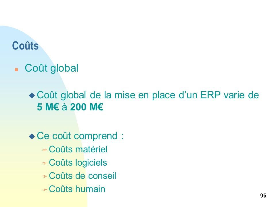 Coûts Coût global. Coût global de la mise en place d'un ERP varie de 5 M€ à 200 M€ Ce coût comprend :